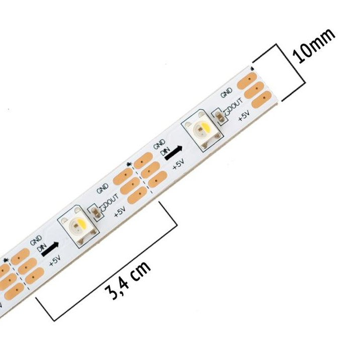 5v 30leds/m SK6812 RGBW Digital LED Strip Light Built-in IC SIZE